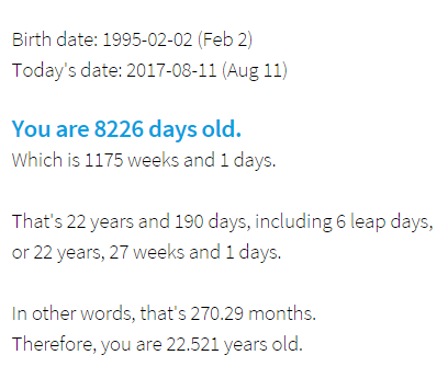 Your Age in Days