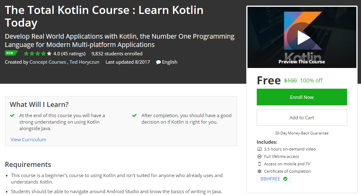 The Total Kotlin Course : Learn Kotlin Today