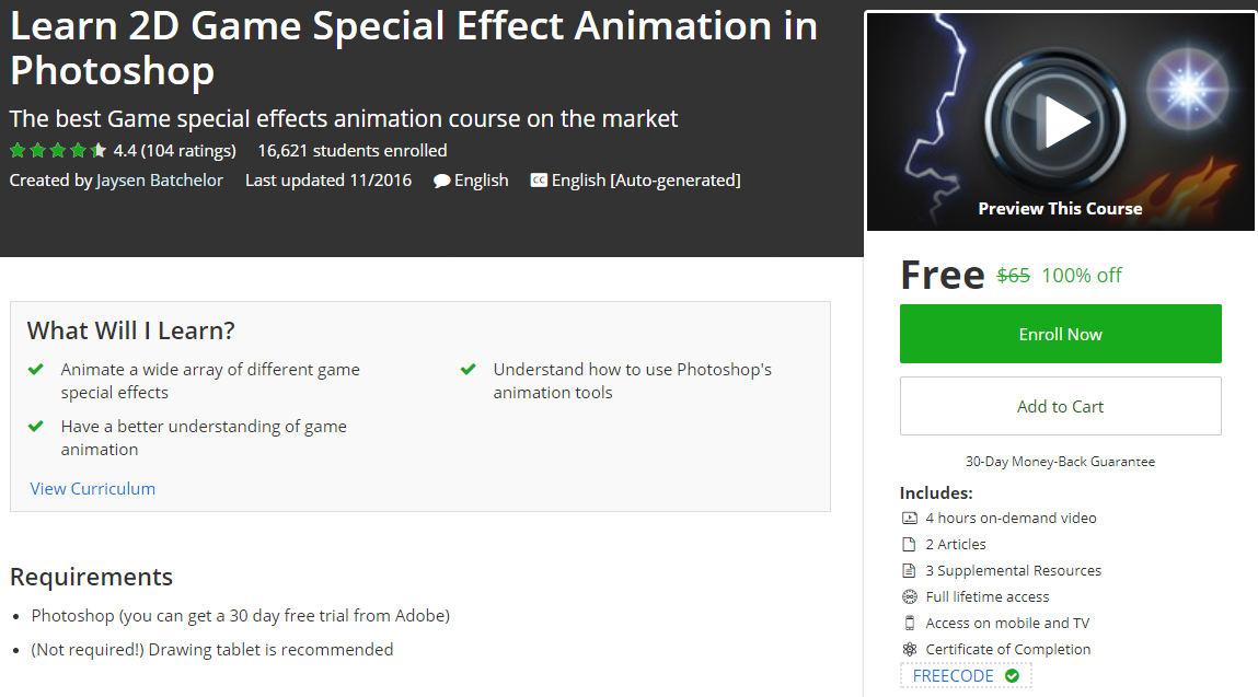 Learn 2D Game Special Effect Animation in Photoshop