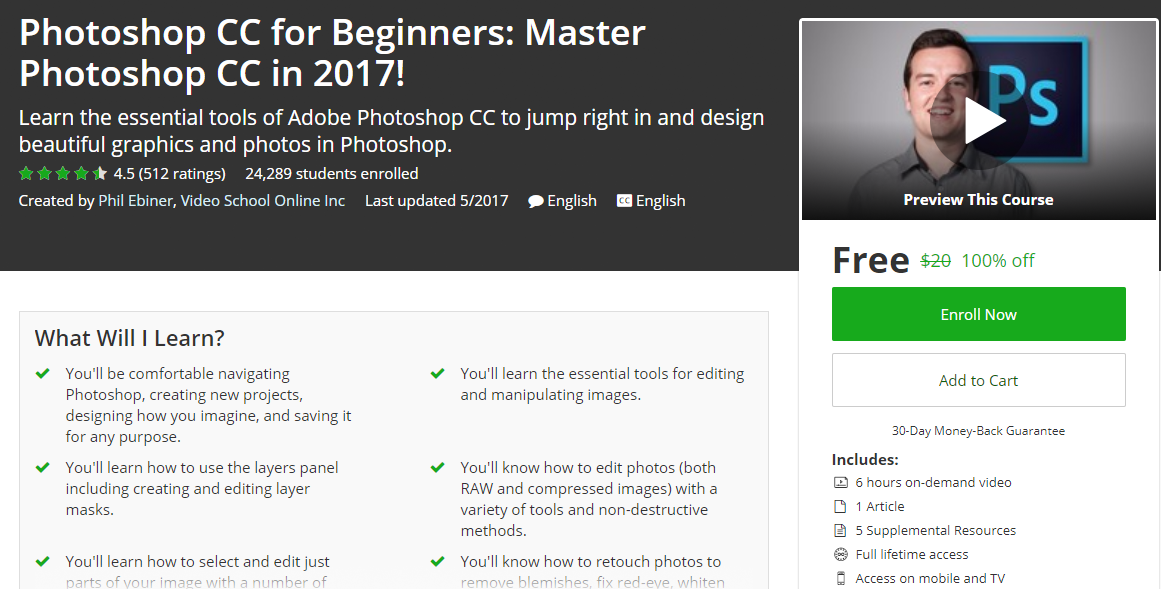 Photoshop CC For Beginners : Master Photoshop CC in 2017